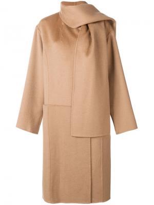Пальто в стиле оверсайз с шалью Paule Ka. Цвет: нейтральные цвета