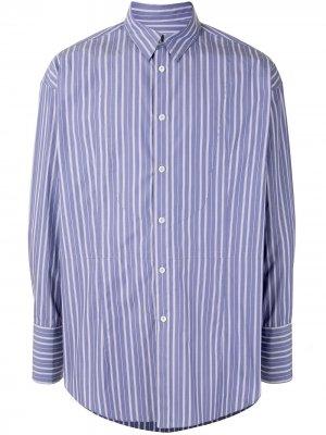 Рубашка оверсайз в тонкую полоску SONGZIO. Цвет: фиолетовый