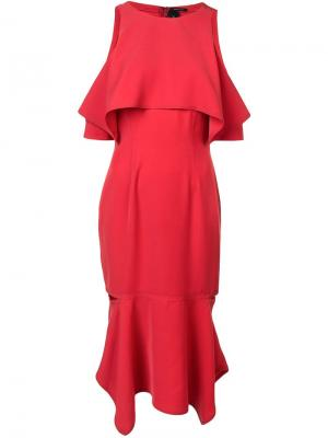 Платье с вырезными плечами Yigal Azrouel. Цвет: красный