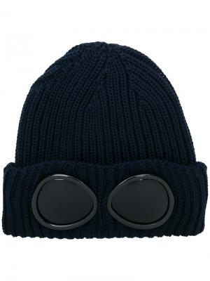 Rib knit goggle beanie CP Company. Цвет: синий