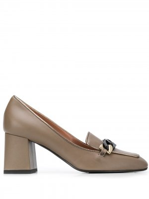 Туфли с квадратным носком и цепочками Pollini. Цвет: нейтральные цвета