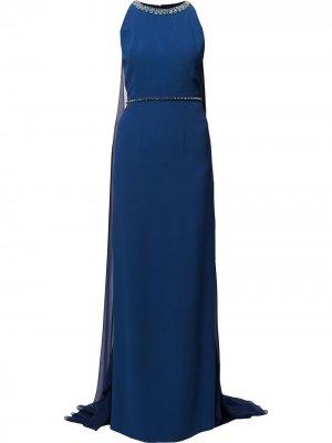 Платье Opera с кейпом Jenny Packham. Цвет: синий