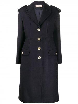 Приталенное пальто на пуговицах Marni. Цвет: синий