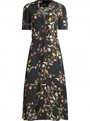 Драпированное платье с цветочным принтом Nicole Miller. Цвет: черный