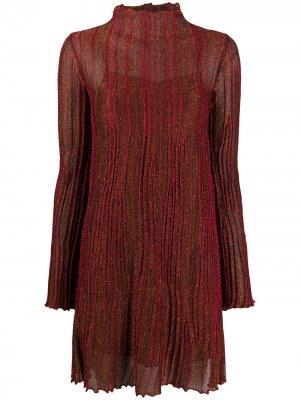 Плиссированное платье миди с длинными рукавами M Missoni. Цвет: красный