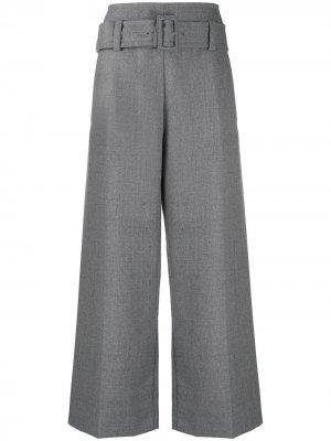 Расклешенные брюки с завышенной талией и поясом Marni. Цвет: серый