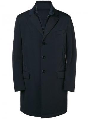 Многослойное пальто на молнии Fay. Цвет: синий