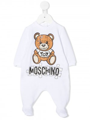 Комбинезон Teddy Bear с логотипом Moschino Kids. Цвет: белый