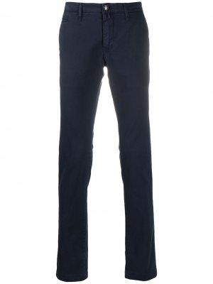 Саржевые брюки кроя слим Jacob Cohen. Цвет: синий