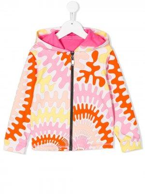 Куртка с абстрактным принтом и капюшоном Emilio Pucci Junior. Цвет: белый