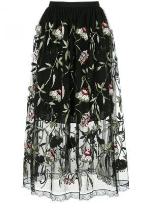 Полупрозрачная юбка с вышитыми цветочными узорами Markus Lupfer. Цвет: черный