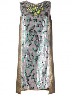 Коктейльное платье с пайетками и вставками Matthew Williamson. Цвет: коричневый