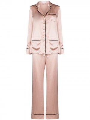 Пижама с контрастной отделкой Olivia von Halle. Цвет: розовый