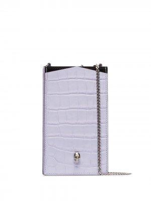 Чехол для телефона с декором Skull и цепочкой Alexander McQueen. Цвет: фиолетовый