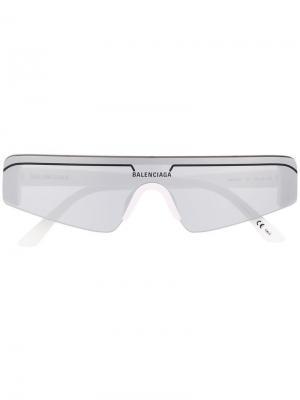 Солнцезащитные очки в квадратной оправе Balenciaga Eyewear. Цвет: белый