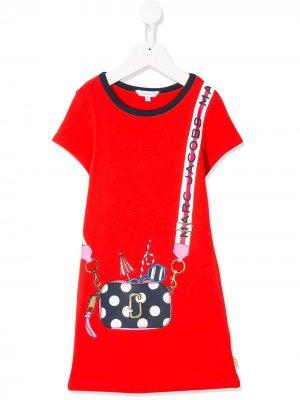 Платье-футболка с принтом The Marc Jacobs Kids. Цвет: красный