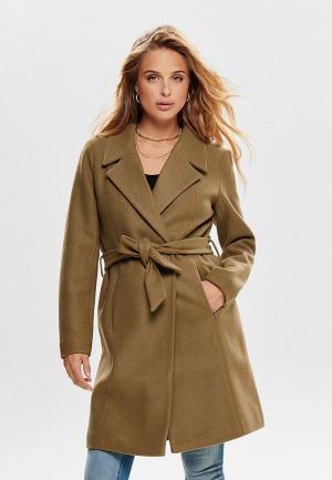 Пальто Only. Цвет: коричневый