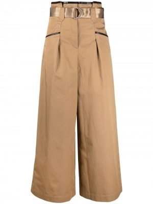 Широкие брюки с завышенной талией Self-Portrait. Цвет: коричневый