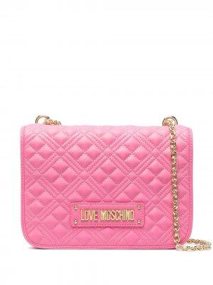 Стеганая сумка на плечо с логотипом Love Moschino. Цвет: розовый