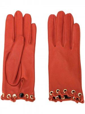 Короткие перчатки со шнуровкой Manokhi. Цвет: красный