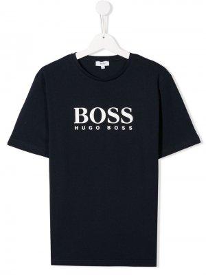 Футболка с логотипом BOSS Kidswear. Цвет: синий