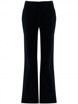 Расклешенные бархатные брюки с завышенной талией Victoria Beckham. Цвет: синий