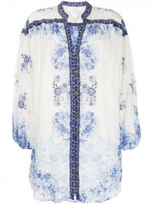 Платье-туника с цветочным принтом Camilla. Цвет: белый