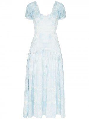Платье Jeanette со складками LoveShackFancy. Цвет: синий