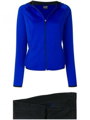 Спортивный костюм с капюшоном Ea7 Emporio Armani. Цвет: синий