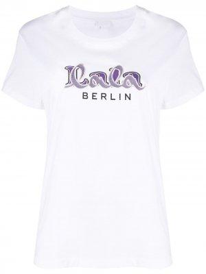 Футболка с вышитым логотипом Lala Berlin. Цвет: белый