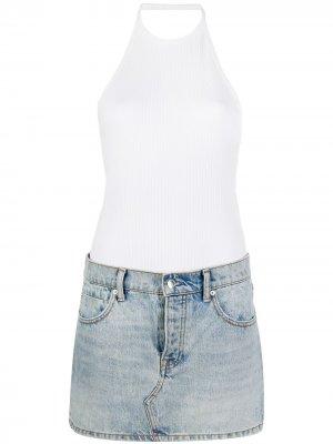 Платье с джинсовой юбкой Alexander Wang. Цвет: белый