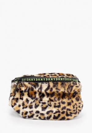 Сумка поясная DKNY. Цвет: коричневый