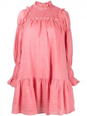Платье-трапеция со сборками Sea. Цвет: розовый