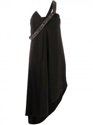 Декорированное платье асимметричного кроя Just Cavalli. Цвет: черный