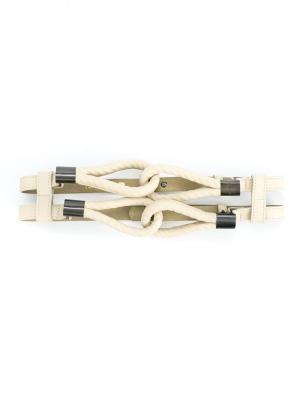 Пояс с тиснеными под веревку петлями Tufi Duek. Цвет: белый