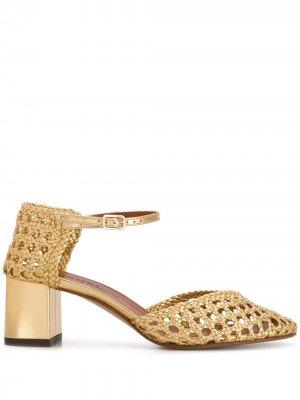 Плетеные туфли Petrus на блочном каблуке Michel Vivien. Цвет: золотистый