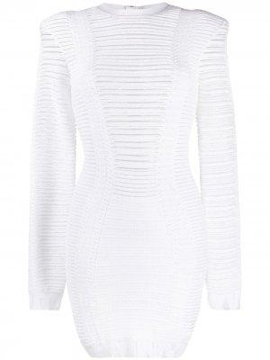 Трикотажное короткое платье Balmain. Цвет: белый