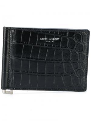 Бумажник с зажимом для купюр Saint Laurent. Цвет: черный