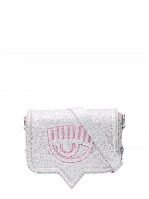 Поясная сумка с ремнем-цепочкой и блестками Chiara Ferragni. Цвет: серебристый
