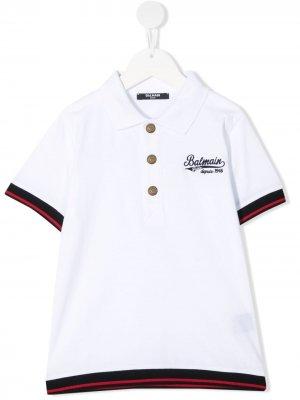 Рубашка поло с вышитым логотипом Balmain Kids. Цвет: белый