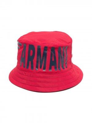 Панама с логотипом Emporio Armani Kids. Цвет: красный