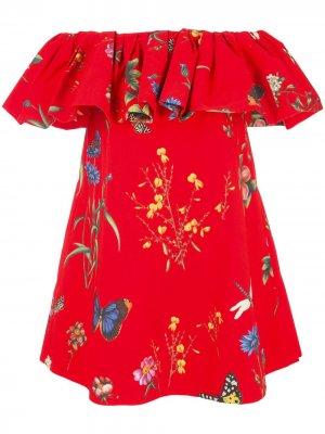 Платье с открытыми плечами и цветочным принтом Oscar de la Renta. Цвет: красный