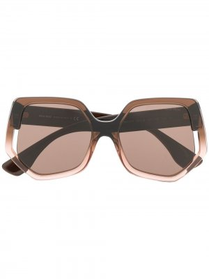 Солнцезащитные очки в геометричной оправе Miu Eyewear. Цвет: коричневый