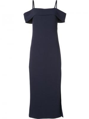 Платье шифт с разрезом Elizabeth And James. Цвет: синий