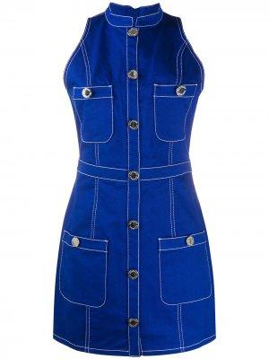 Джинсовое платье без рукавов Balmain. Цвет: синий