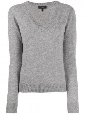 Трикотажный свитер с V-образным вырезом Theory. Цвет: серый