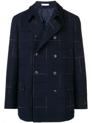 Двубортное пальто в клетку Boglioli. Цвет: синий