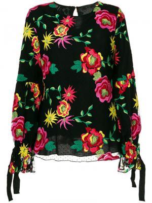 Блузка с цветочной вышивкой Ki6. Цвет: чёрный