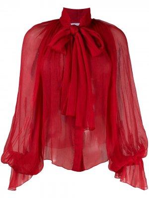 Шифоновая блузка с объемными рукавами Atu Body Couture. Цвет: красный