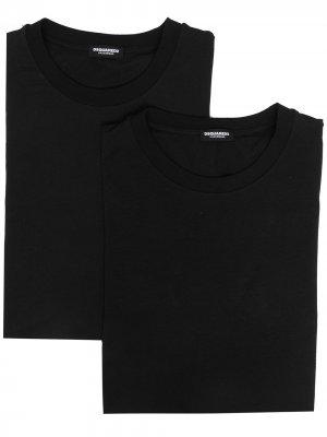 Набор из двух футболок с логотипом Dsquared2. Цвет: черный